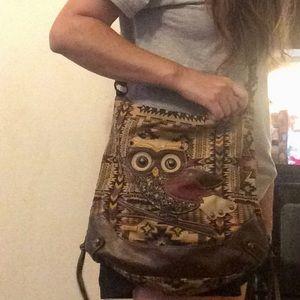 Vintage owl crossbody purse